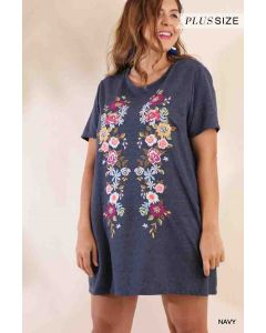 Floral Embroidered Tee Dress Navy Plus