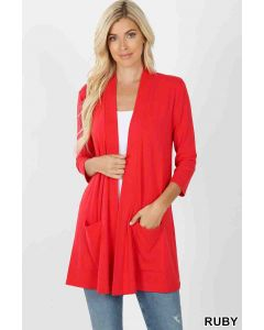 Slouchy Pocket Cardigan Red