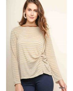 Umgee Striped LSL Knotted Taupe