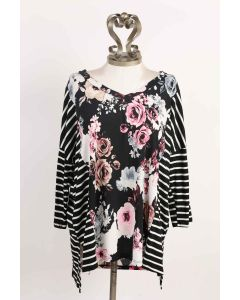 honeyme LSL Floral Top Black-Pink