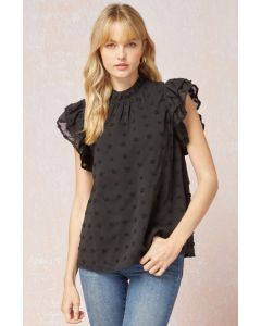 Entro Swiss Dot Mock Neck Top Black