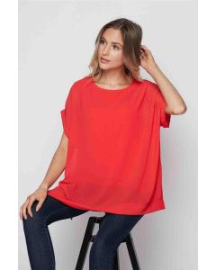 Honeyme Crepe Lined Top Coral