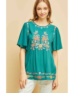 Entro Embroidered Top Jade