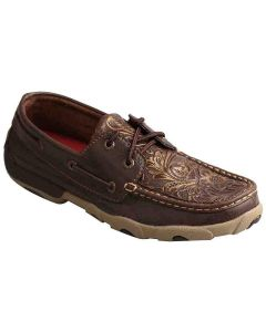 Womens Driving Moc Brown-Floral