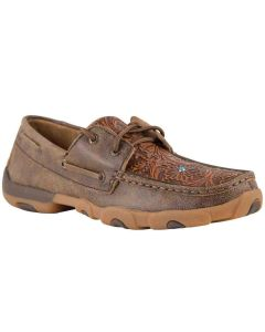Womens Driving Moc Brown-Tooled