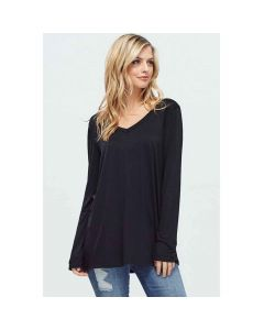 V-Neck Long-Sleeve Solid Top