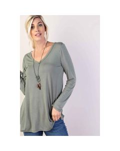 V-Neck Long-Sleeve Solid Top +