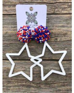 Large Star Pom Earrings