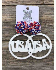 USA Pom Earrings