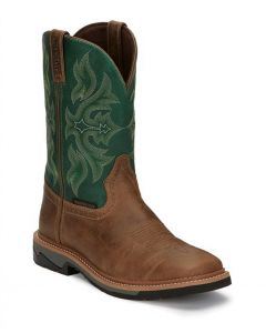 Justin Stampede Bolt Green Waterproof Work Boots (Soft Toe)